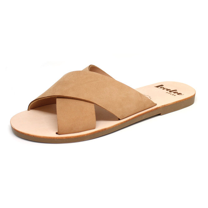 LOVELEE CROSSOVER SLIDE - TAN SIZE 36