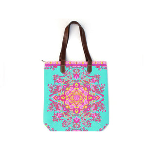 BOHO PRINT TURQUOISE CANVAS TOTE