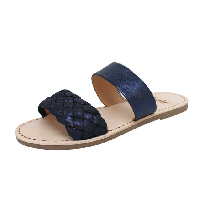 Weave Slide - Metallic Blue | Lovelee Soles