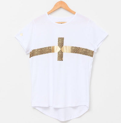 White Cheetah Gold Cross Tee | Stella + Gemma | Lovelee Soles