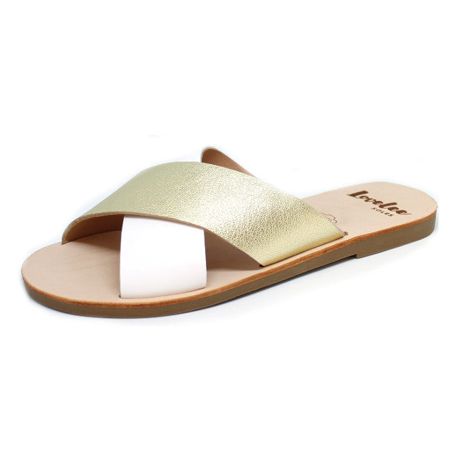 LOVELEE CROSSOVER SLIDE - WHITE & GOLD