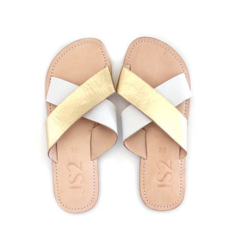 White & Gold Crossover Bali Slides | Lovelee Soles