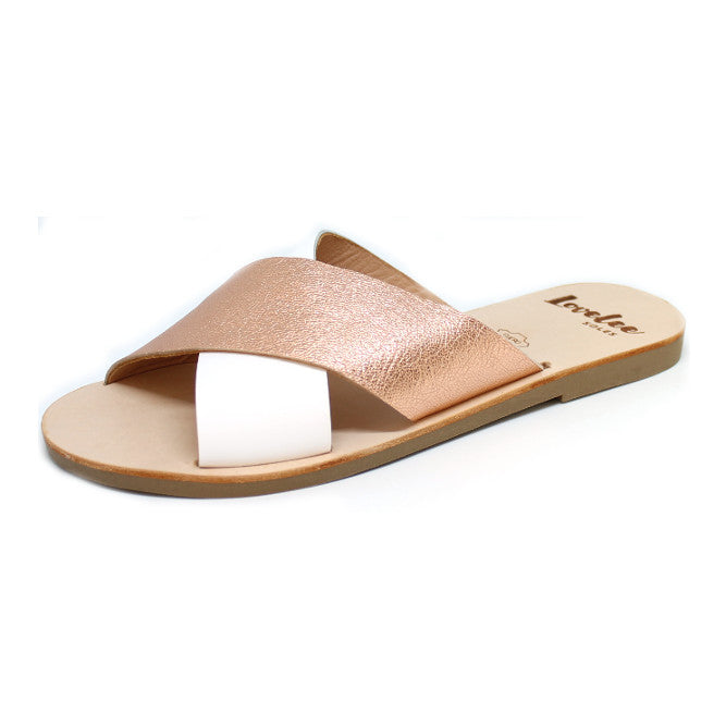 LOVELEE CROSSOVER SLIDE - WHITE & ROSE GOLD