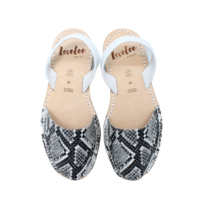 White and Black Snakeskin Print | Lovelee Soles