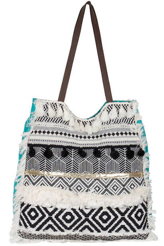 LUXE BOHO BLACK, WHITE & TURQUOISE SHOPPER