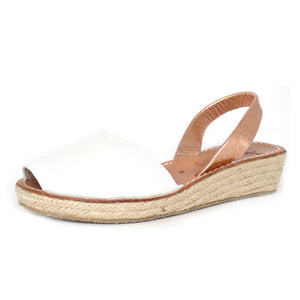 White & Rose Gold Mini Rope Wedge | Lovelee Soles