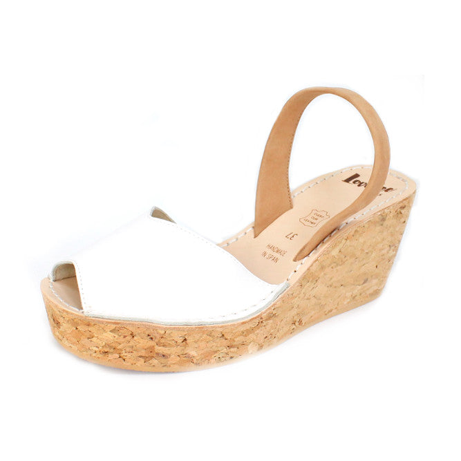 LOVELEE WHITE & TAN CORK WEDGE