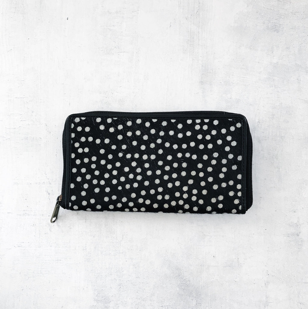LUXE BLACK SPOT CALF HAIR WALLET | Lovelee Soles