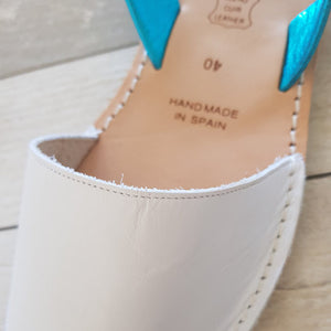 WHITE & TURQUOISE- MINOR FLAWS/LAST PAIRS 36 & 41