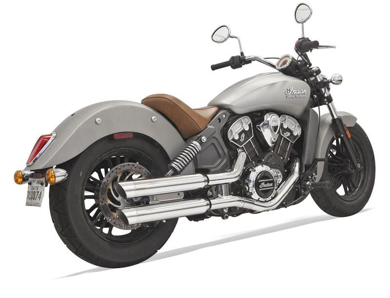 Bassani Slip On Slash Cut Mufflers for Indian Scout 2017-2021 - Chrome