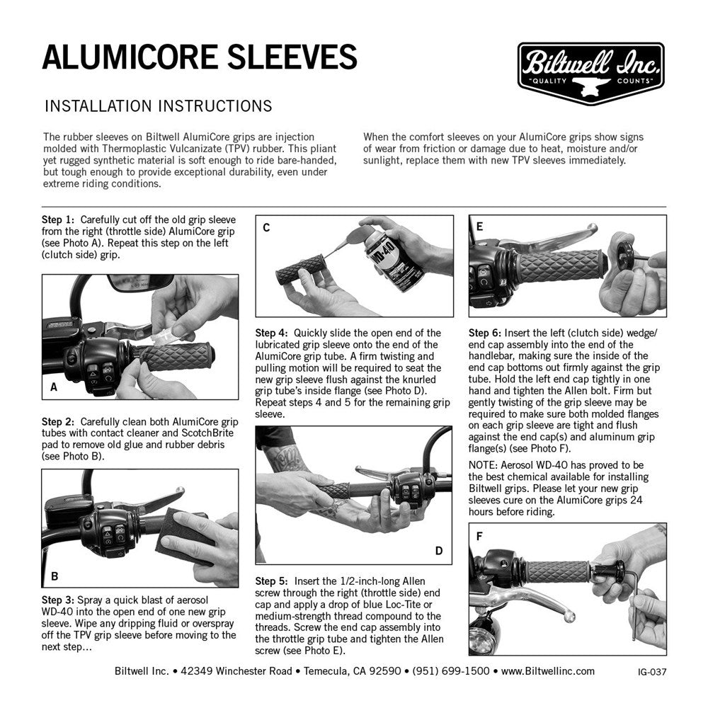 Biltwell Alumicore Replacement Sleeves - Grey