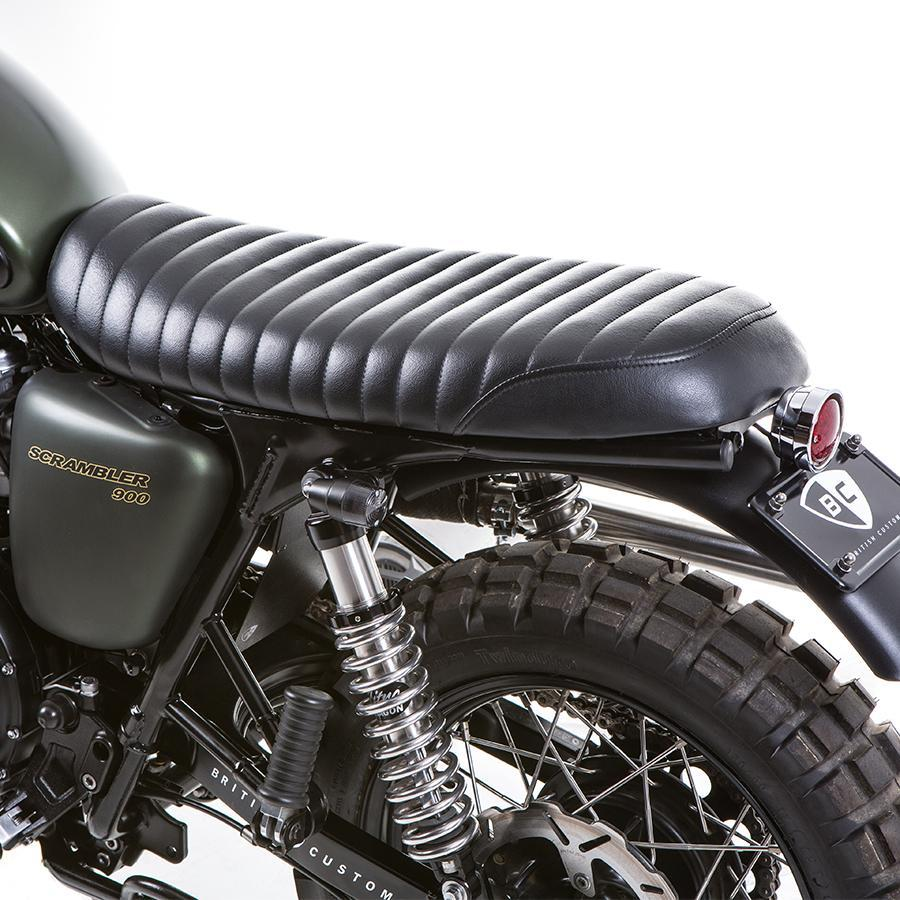 British Customs Black Slammer Seat - Triumph Air Cooled
