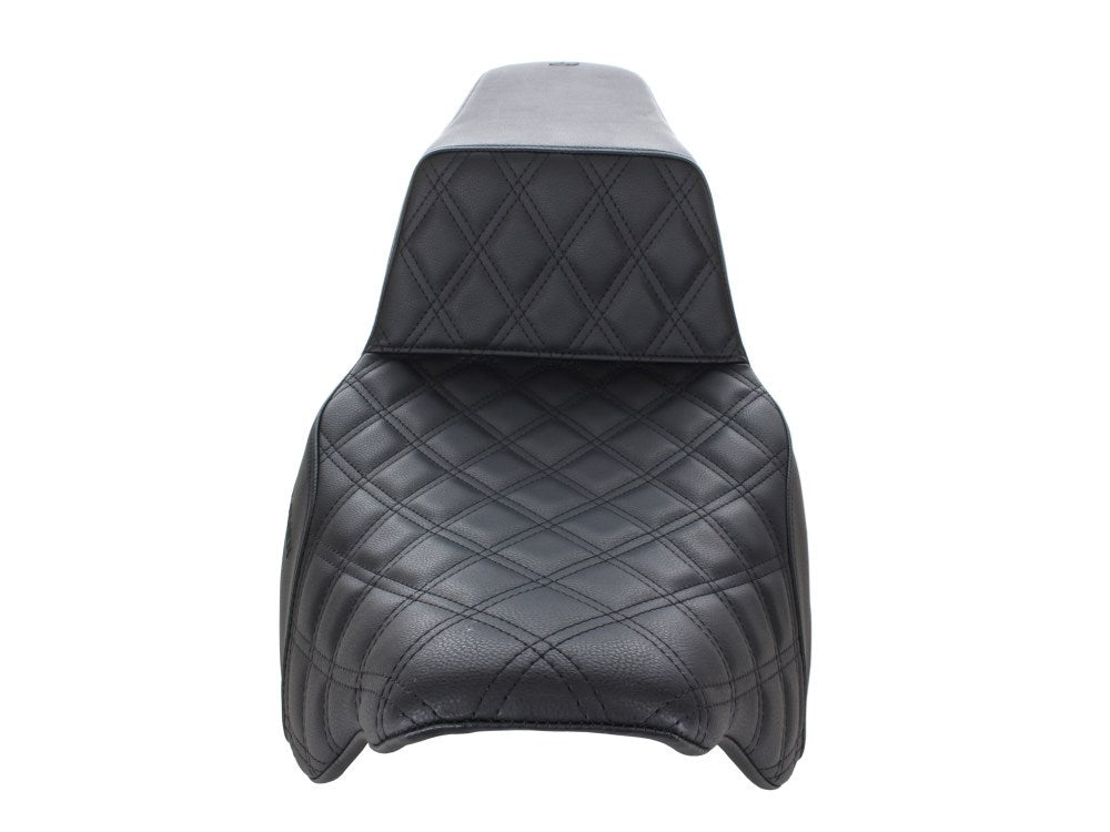 Harley Touring - Saddlemen Step-Up LS Dual Seat with Black Double Diamond Lattice Stitch. Fits Harley Touring Models 2008up