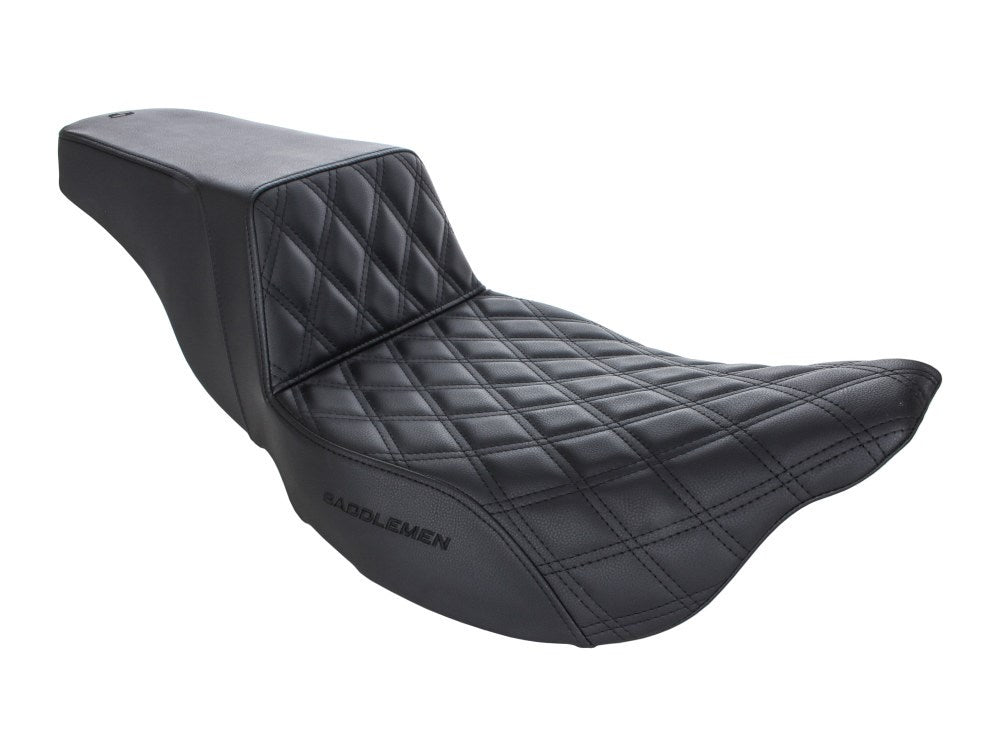 Saddlemen Step-Up LS Dual Seat with Black Double Diamond Lattice Stitch. Fits Harley Touring Models 2008up