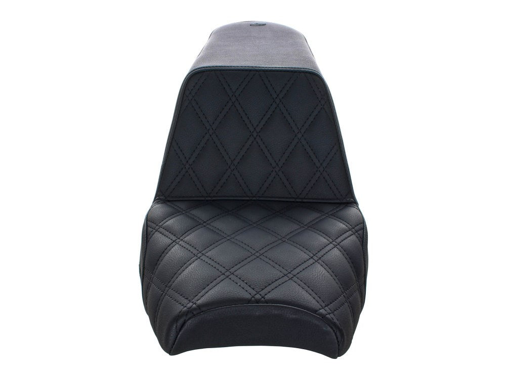 Saddlemen Step-Up LS Dual Seat with Black Double Diamond Lattice Stitch. Fits Scout Bobber 2018up