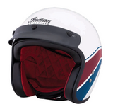 Indian Retro Open Face Helmet - White Stripe