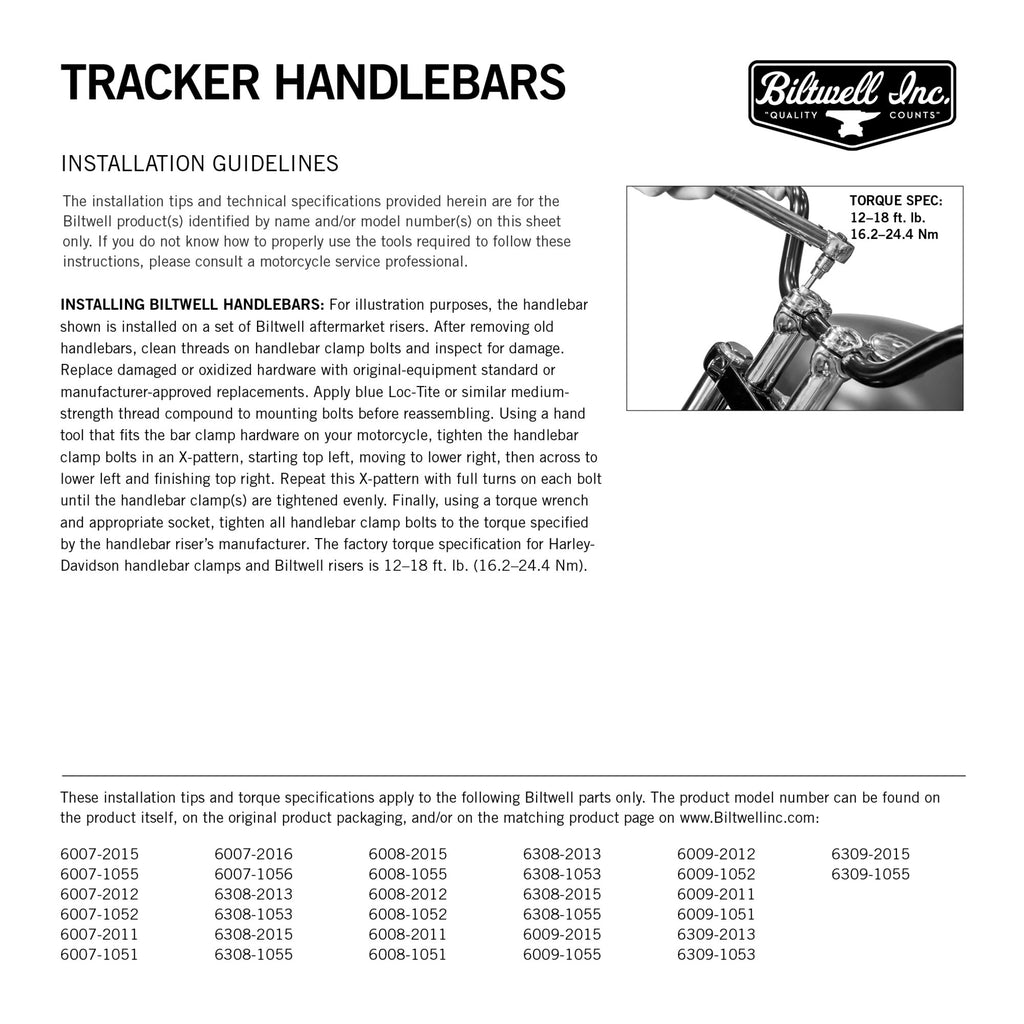"Biltwell Tracker High Handlebars 7/8"" - Black"