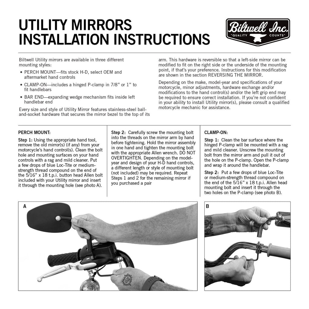 Biltwell Utility CE Mirror Tear Drop - Perch Mount (HD) - Pair