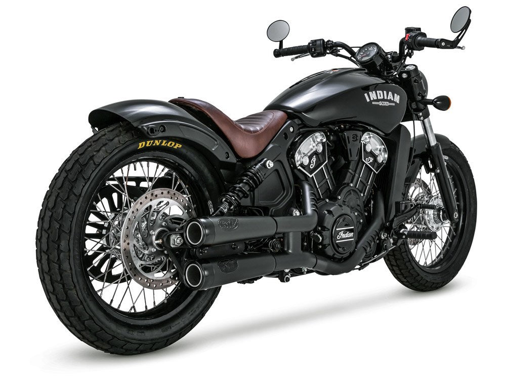 RSD Tracker Mufflers – Black with Black End Caps. Fits Indian Scout 2015up.