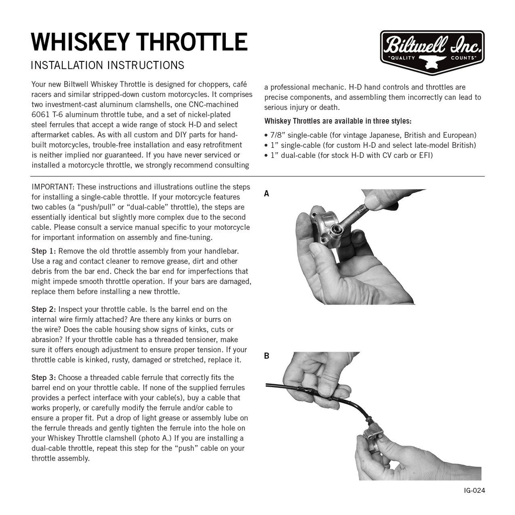 "Biltwell Cast Whiskey Throttle 1"" - Single Cable"