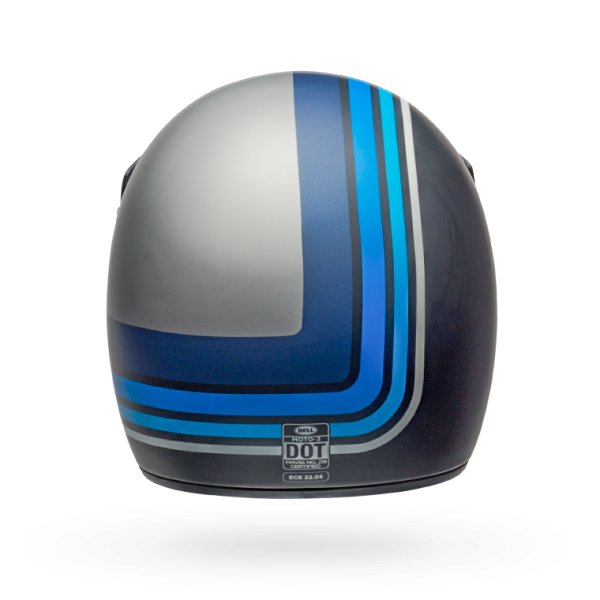 Bell Moto 3 - Matte Silver  / Blue Stripes