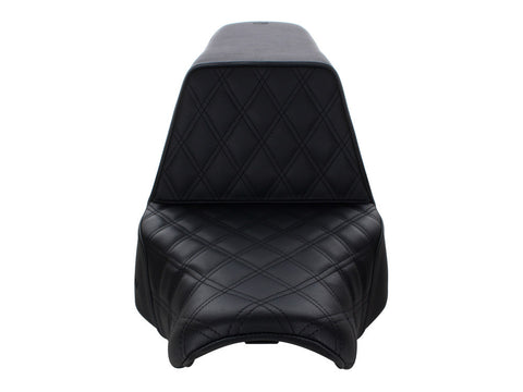 Saddlemen Step-Up LS Dual Seat with Black Double Diamond Lattice Stitch. Fits Sport Glide & Low Rider 2018up & Low Rider S 2020up.