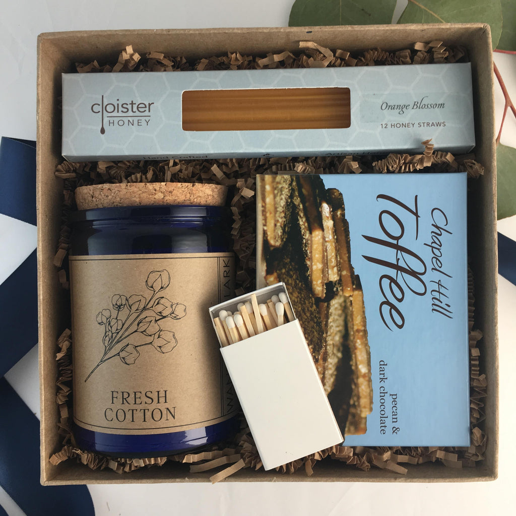 Made in North Carolina Gift Box, containing Cloister Honey Straws, Chapel Hill Toffee and Wandering Lark Candle in Fresh Cotton scent
