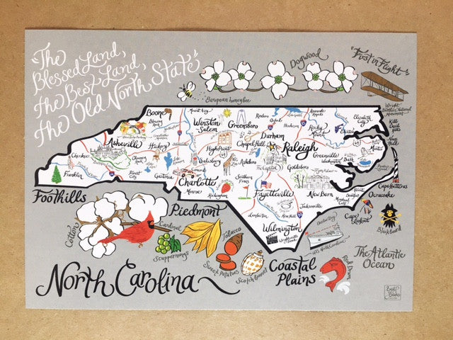 North Carolina Map Print Add-On