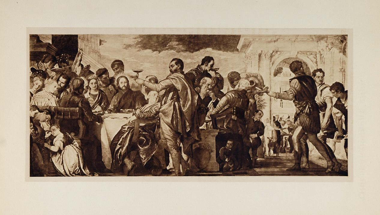 1901 Paul Veronese Marriage at Cana Feast Lithograph - ORIGINAL 100