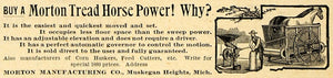 1893 Ad Morton Tread Horse Power Machine Muskegon Michigan Agriculture AAG1