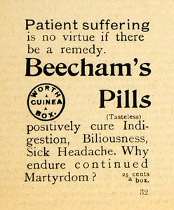 1893 Ad Thomas Beecham's Pills Laxative Indigestion Medical Medicine AAG1