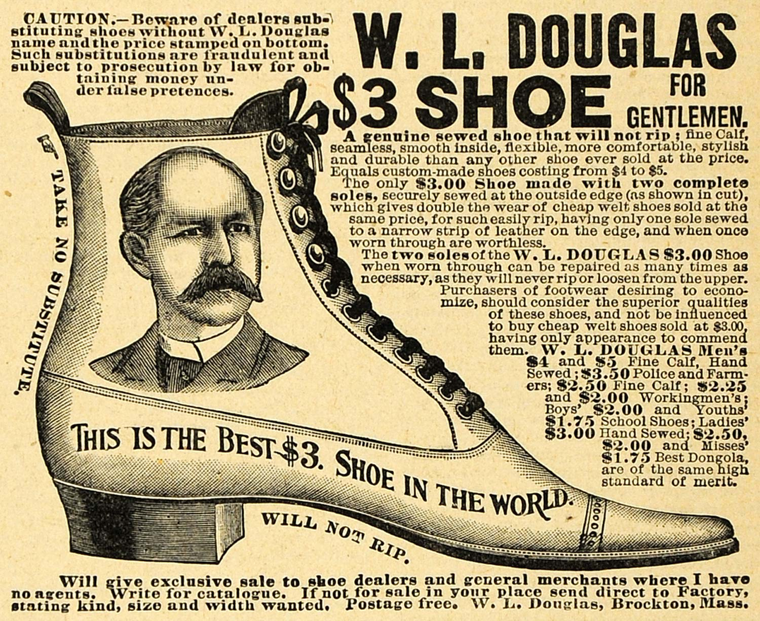 1892 Ad W. L. Douglas Men's Shoes Materials Fashion Footwear Pricing AAG1