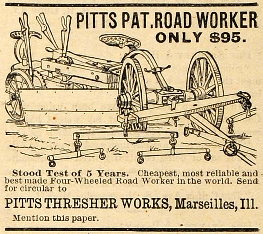 1890 Ad Pitts Thresher Works Road Worker Farm Machinery Agricultural AAG1