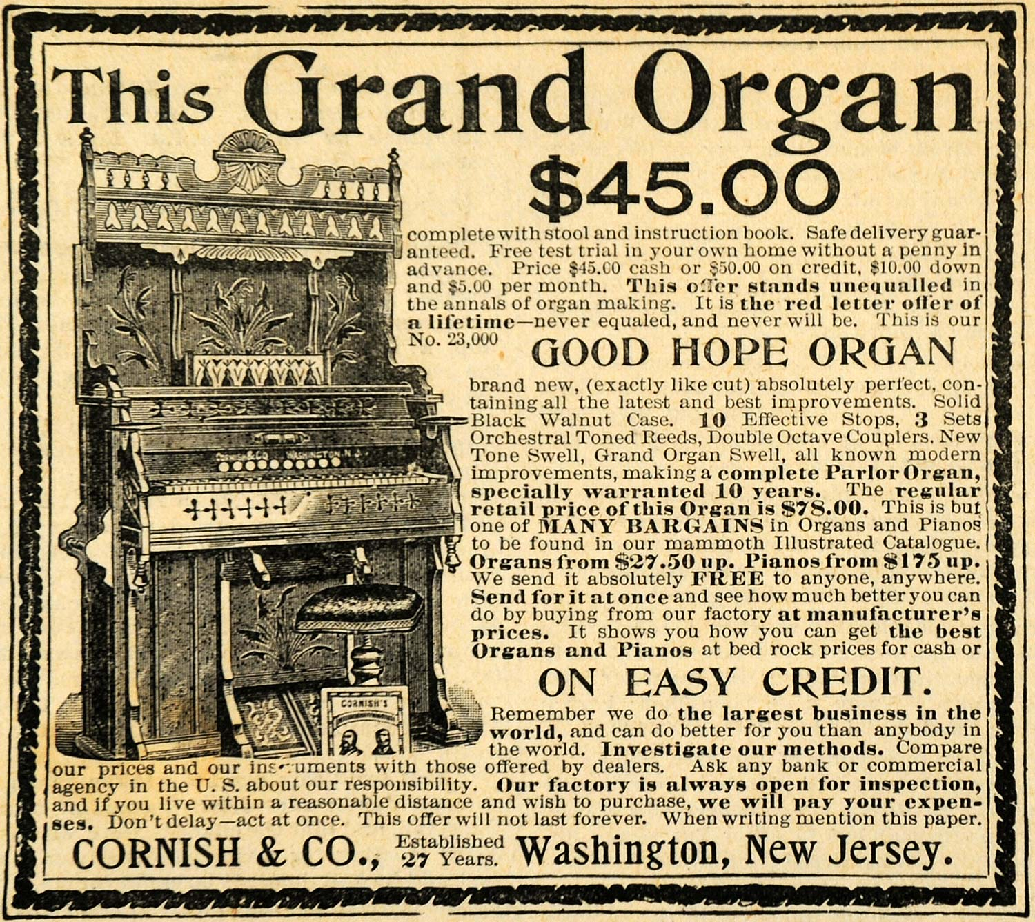 1893 Ad Cornish Good Hope Antique Grand Organ Musical Instruments Pricing AAG1