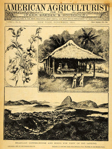 1891 Cover Brazilian Coffee House Rio Janeiro Shack Agriculture Farm AAG1