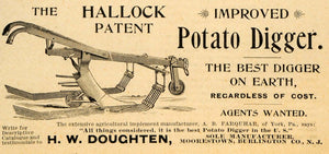 1893 Ad H. W. Doughten Hallock Potato Digger Farming Equipment Agricultural AAG1