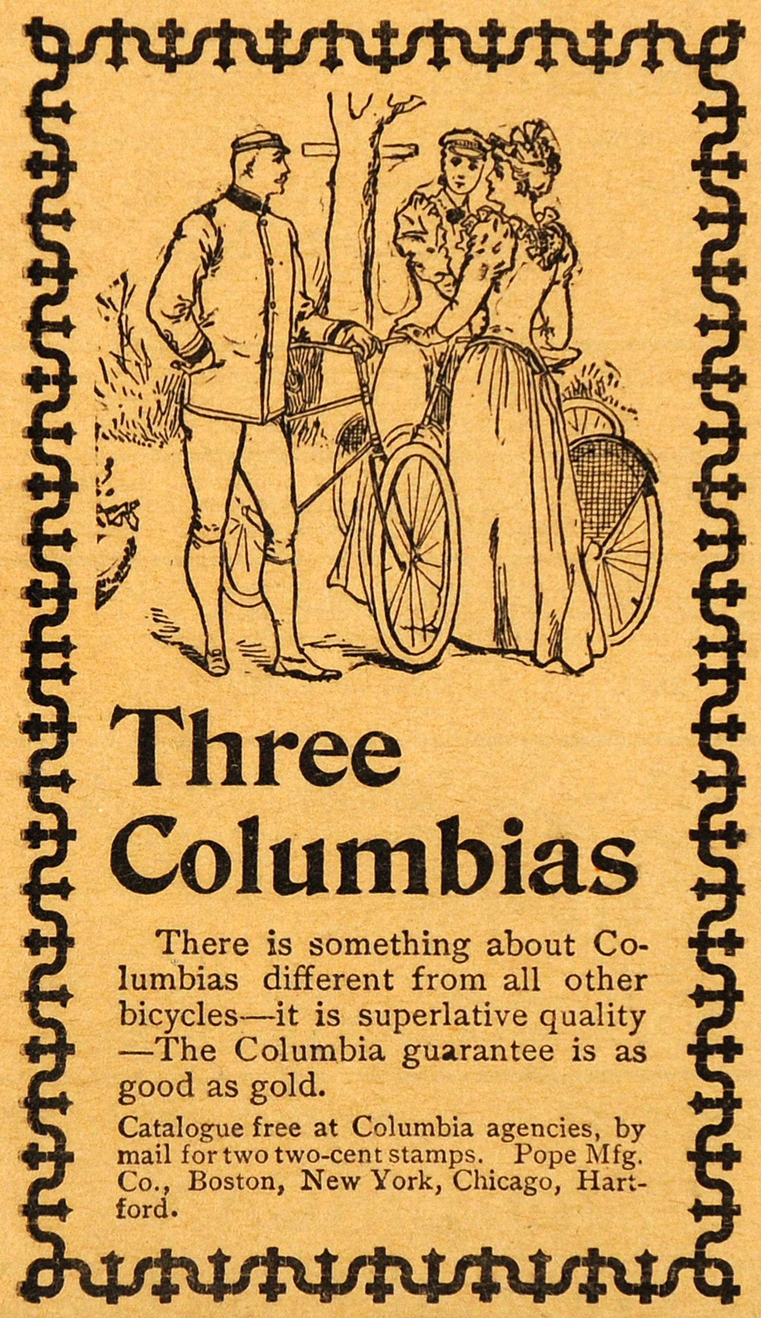 1893 Ad Columbia Bicycles Antique Pope Edwardian Fashion Biking Cycling AAG1