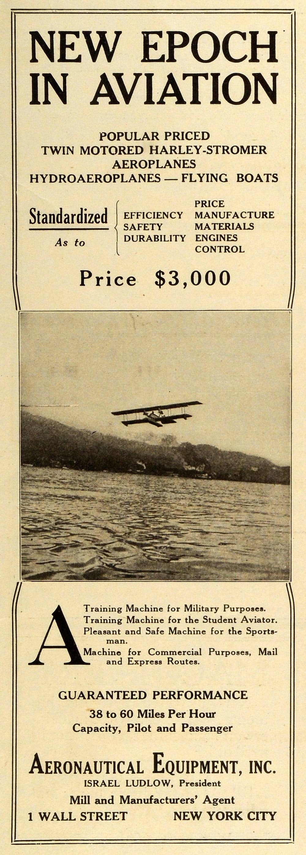 1918 Ad Aeronautical Equipment Inc Aviation Hydroaeroplanes Biplane AAW1