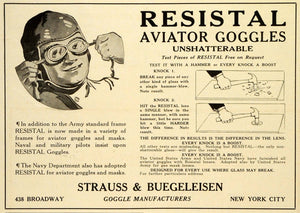 1918 Ad Strauss & Buegeleisen Resistal Aviator Goggles Accessories New York AAW1