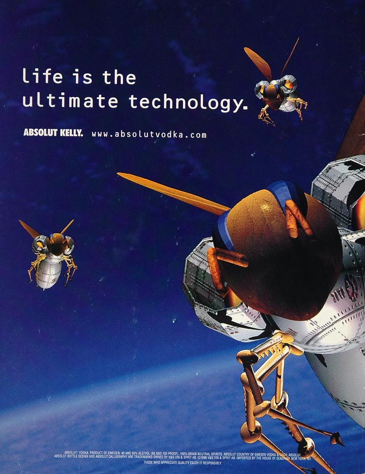 1996 Ad Absolut Kelly Vodka Satellite Bugs Technology - ORIGINAL ABS1