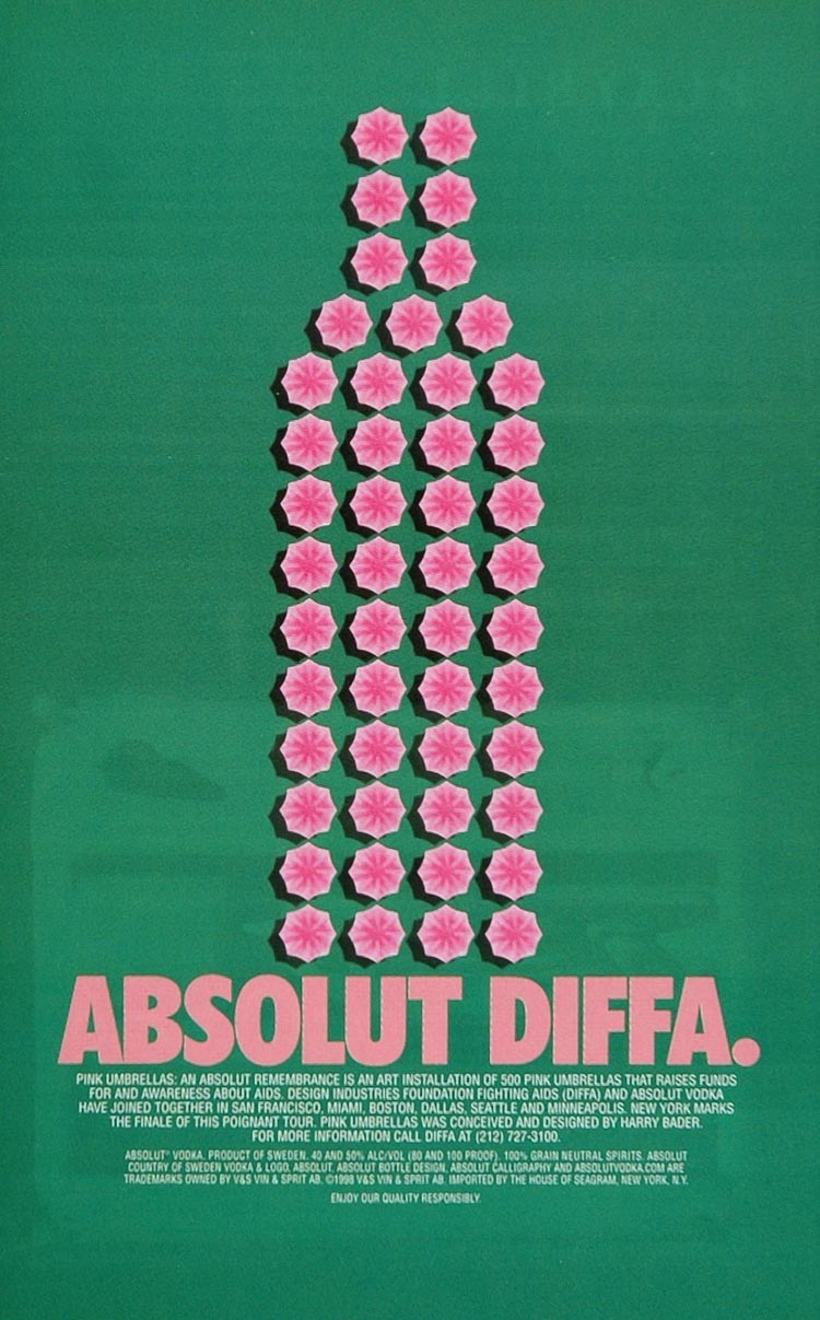 1998 Ad Absolut DIFFA Pink Umbrellas AIDS Harry Bader - ORIGINAL ABS1