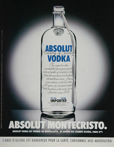 1999 Ad Absolut Montecristo Paris Club Vodka Marc Bardy - ORIGINAL ABS2