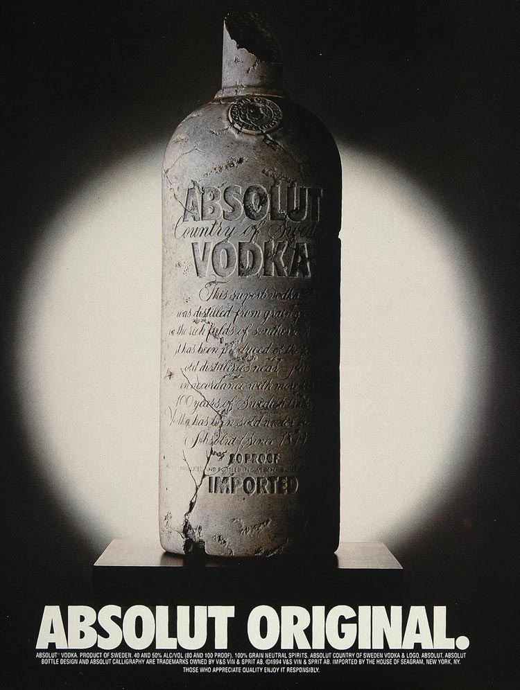 1994 Ad Absolut Original Vodka Cracked Stone Bottle - ORIGINAL ADVERTISING ABS2