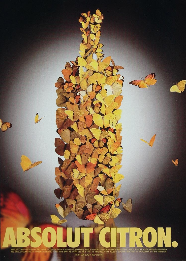 1998 Ad Absolut Citron Vodka Butterflies S. Bronstein - ORIGINAL ABS2