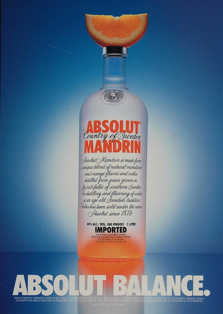 1999 Ad Absolut Mandrin Balance Orange Slice Bronstein - ORIGINAL ABS2