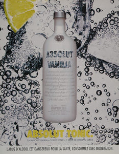 2004 Ad Absolut Vanilla Tonic Lemon Slice Bubbles NICE - ORIGINAL ABS2