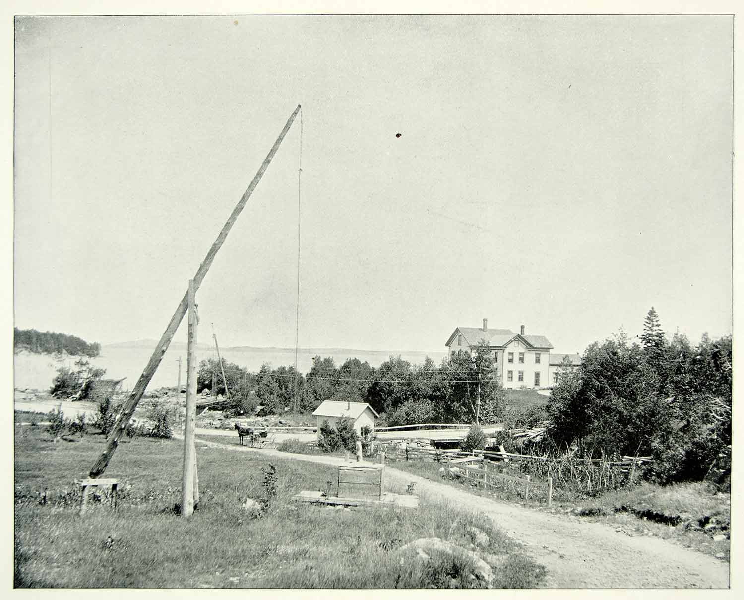 1894 Print Frenchmans Bay Bar Harbor Ocean Coast Town Road New England AC1