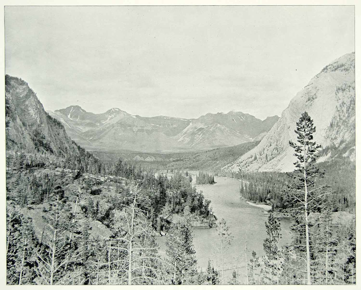 1894 Print Bow River Valley Gap Alberta Canada Rocky Mountains National Park AC1