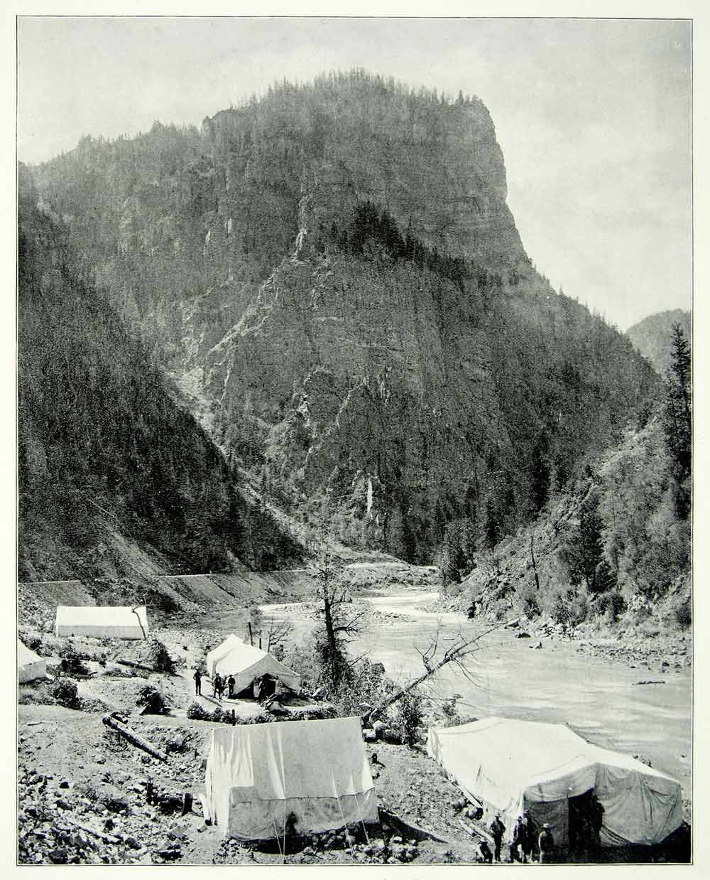 1894 Print Historic Silver Mining Camp Nevada Western Frontier River Bank AC1