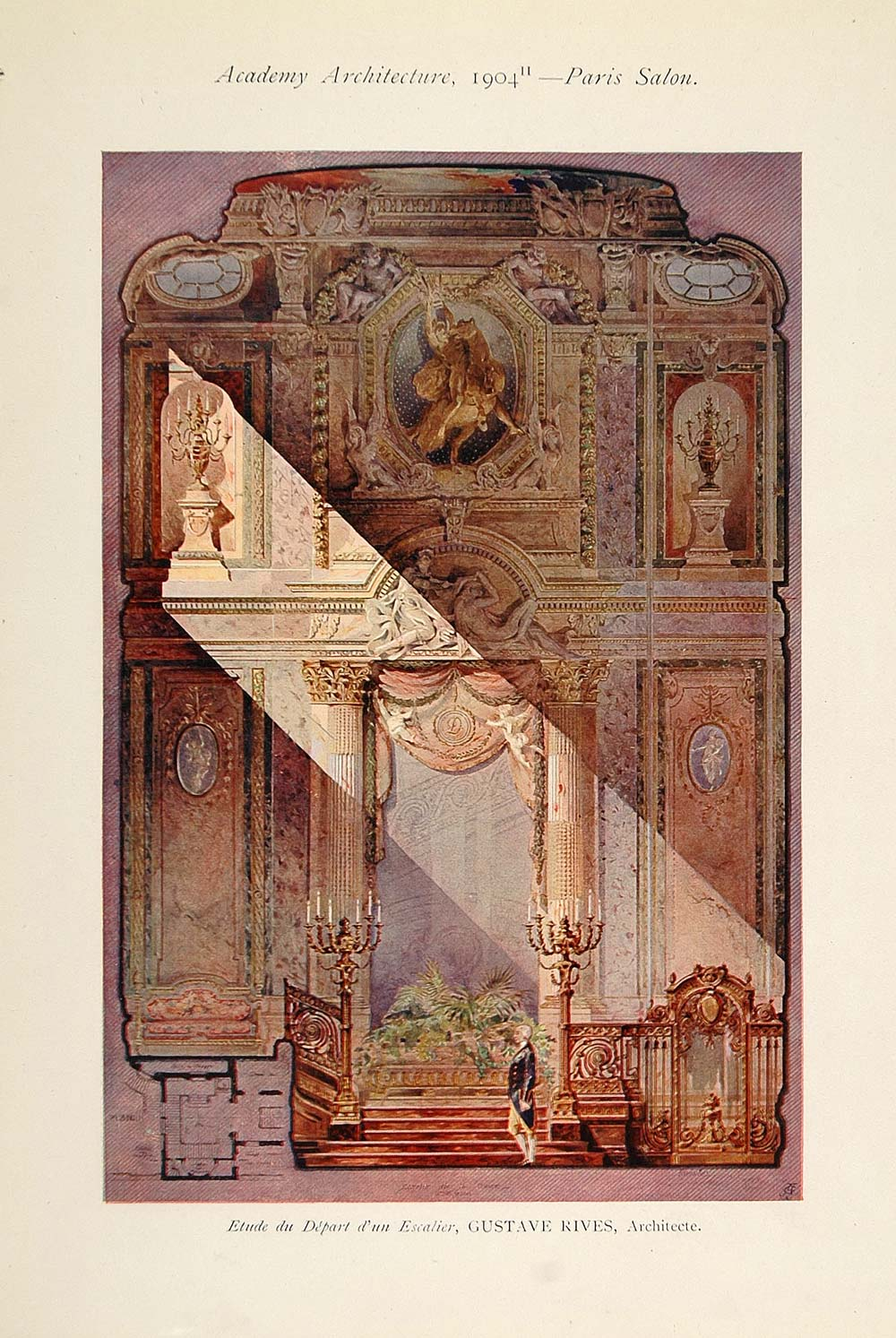 1904 Gustave Rives French Staircase Architecture Print - ORIGINAL AD1